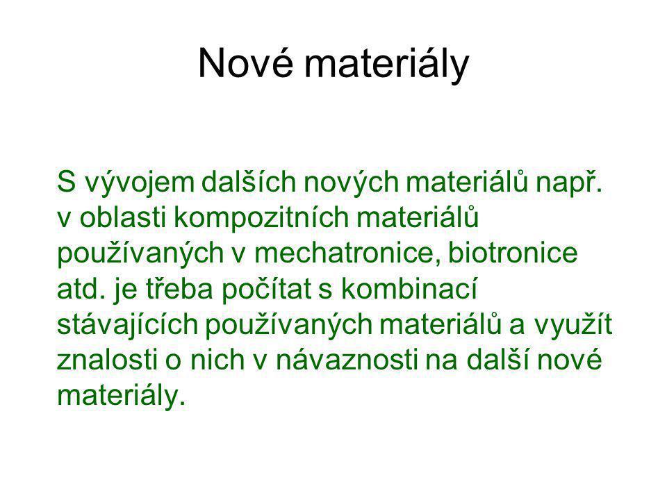 Základními materiály používanými ve strojírenství jsou: Kovy a jejich slitiny Další nové neželezné kovové a nekovové materiály se specifickými vlastnostmi.