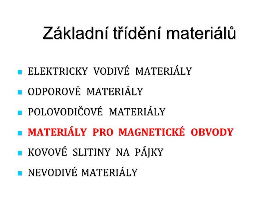 Základní třídění materiálů ELEKTRICKY VODIVÉ MATERIÁLY ELEKTRICKY VODIVÉ MATERIÁLY ODPOROVÉ MATERIÁLY ODPOROVÉ MATERIÁLY POLOVODIČOVÉ MATERIÁLY POLOVO