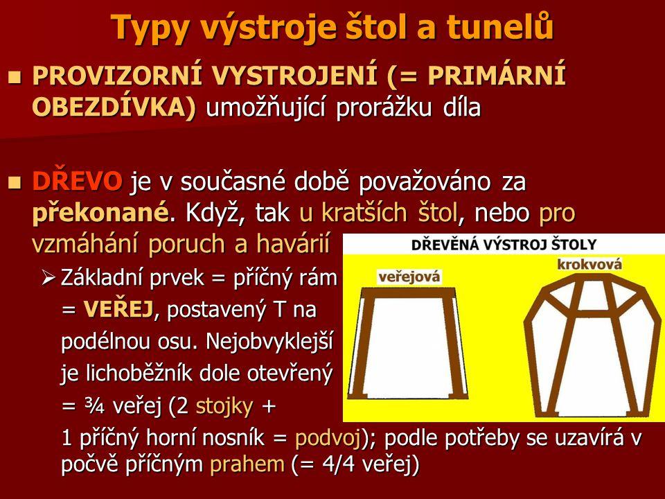 Typy výstroje štol a tunelů PROVIZORNÍ VYSTROJENÍ (= PRIMÁRNÍ OBEZDÍVKA) umožňující prorážku díla PROVIZORNÍ VYSTROJENÍ (= PRIMÁRNÍ OBEZDÍVKA) umožňuj