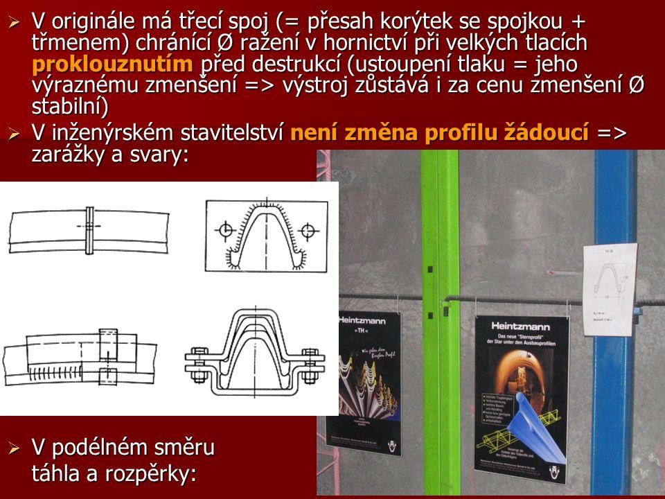  V originále má třecí spoj (= přesah korýtek se spojkou + třmenem) chránící Ø ražení v hornictví při velkých tlacích proklouznutím před destrukcí (us