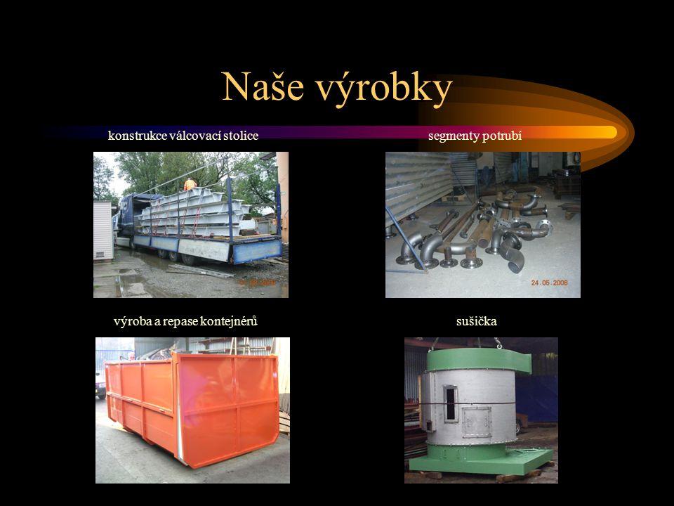 Naše výrobky součásti pro rozvod vzduchubočnice nákladních vozů víko skřínětlumiče lokomotiv