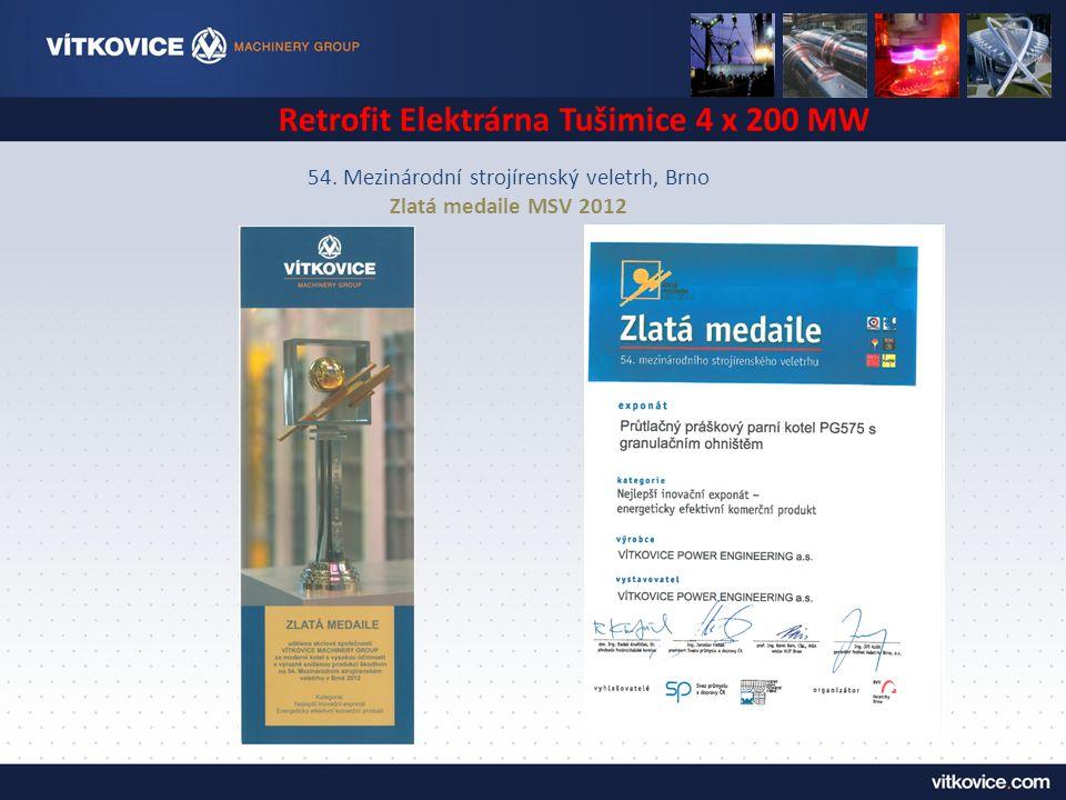 54. Mezinárodní strojírenský veletrh, Brno Zlatá medaile MSV 2012 Retrofit Elektrárna Tušimice 4 x 200 MW