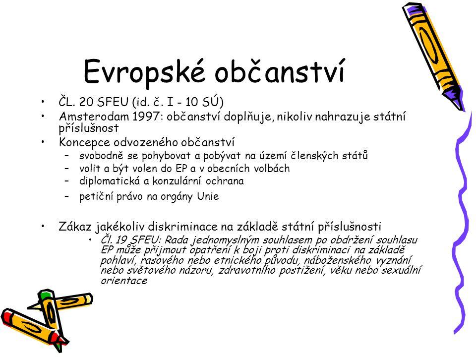 Evropské občanství ČL. 20 SFEU (id. č.