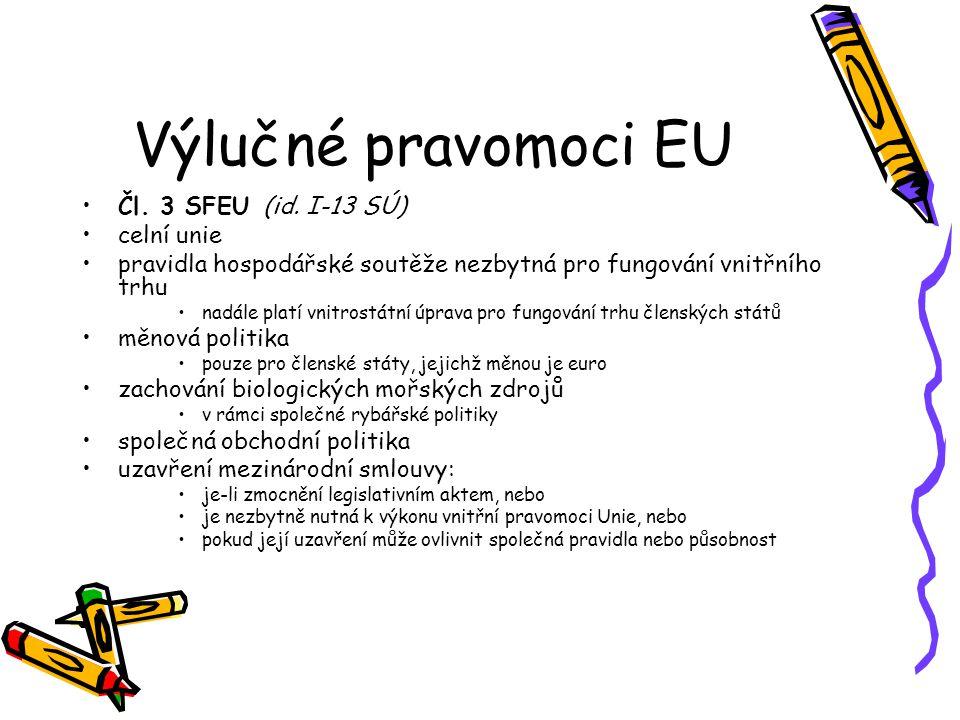 Výlučné pravomoci EU Čl. 3 SFEU (id.