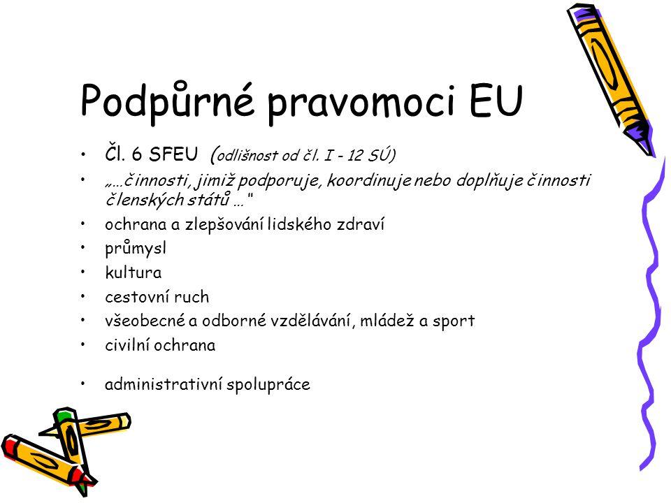 Podpůrné pravomoci EU Čl. 6 SFEU ( odlišnost od čl.