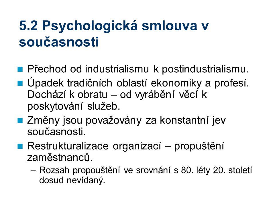 5.2 Psychologická smlouva v současnosti Přechod od industrialismu k postindustrialismu. Úpadek tradičních oblastí ekonomiky a profesí. Dochází k obrat