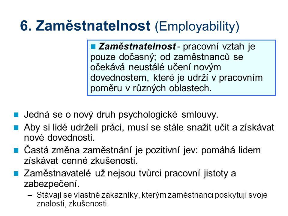 6. Zaměstnatelnost (Employability) Jedná se o nový druh psychologické smlouvy. Aby si lidé udrželi práci, musí se stále snažit učit a získávat nové do