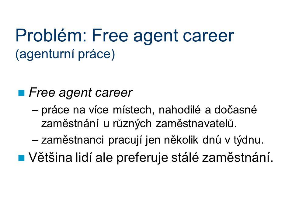 Problém: Free agent career (agenturní práce) Free agent career –práce na více místech, nahodilé a dočasné zaměstnání u různých zaměstnavatelů. –zaměst