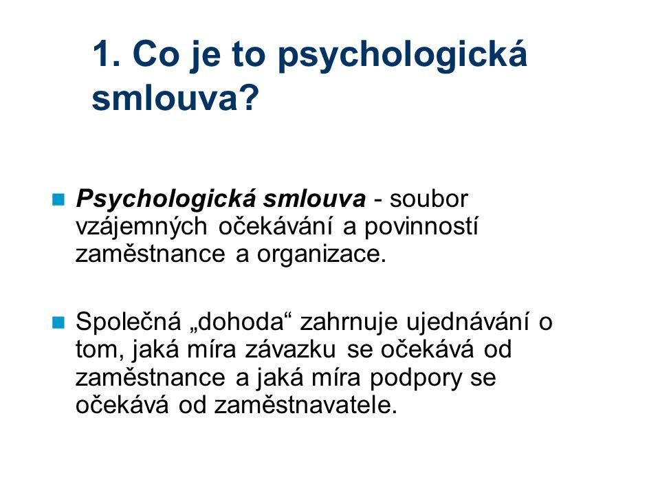 """1. Co je to psychologická smlouva? Psychologická smlouva - soubor vzájemných očekávání a povinností zaměstnance a organizace. Společná """"dohoda"""" zahrnu"""