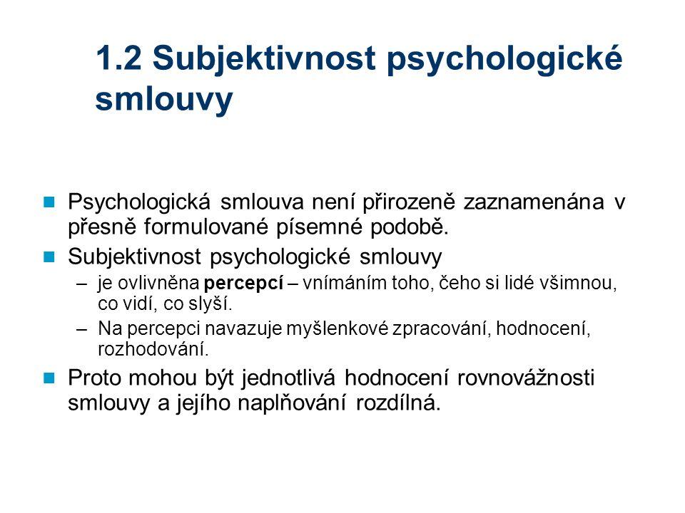 1.2 Subjektivnost psychologické smlouvy Psychologická smlouva není přirozeně zaznamenána v přesně formulované písemné podobě. Subjektivnost psychologi