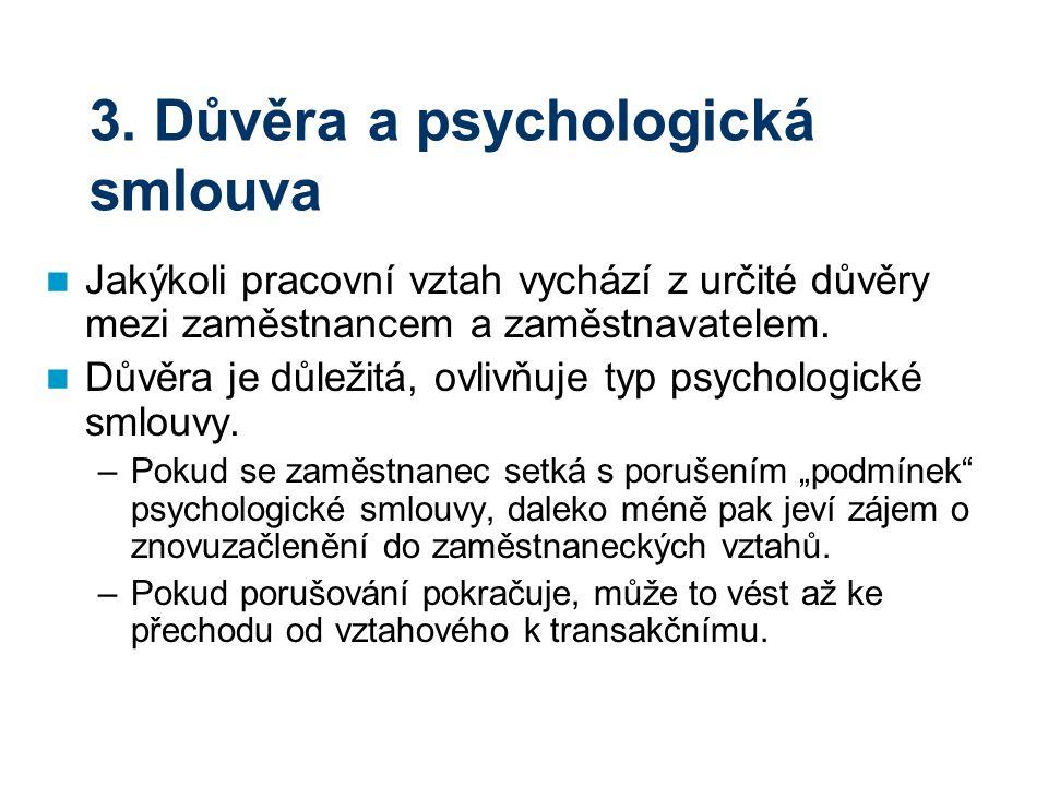 3. Důvěra a psychologická smlouva Jakýkoli pracovní vztah vychází z určité důvěry mezi zaměstnancem a zaměstnavatelem. Důvěra je důležitá, ovlivňuje t