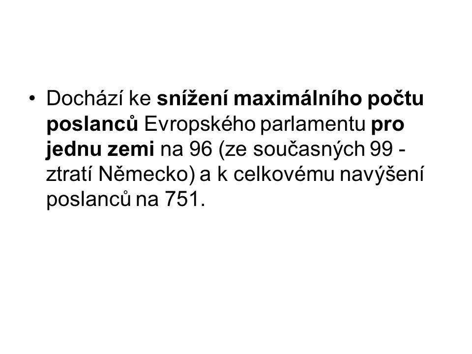 Dochází ke snížení maximálního počtu poslanců Evropského parlamentu pro jednu zemi na 96 (ze současných 99 - ztratí Německo) a k celkovému navýšení po
