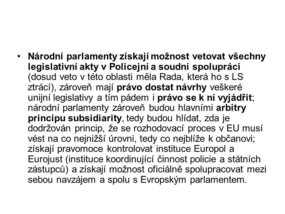 Národní parlamenty získají možnost vetovat všechny legislativní akty v Policejní a soudní spolupráci (dosud veto v této oblasti měla Rada, která ho s
