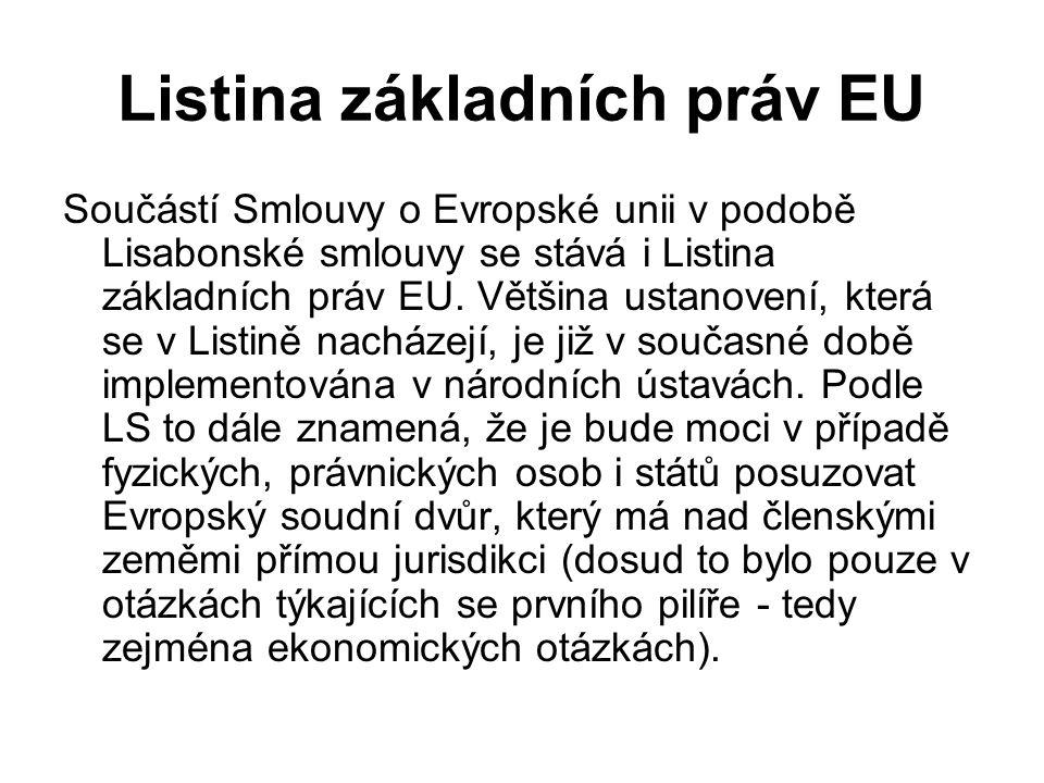 Listina základních práv EU Součástí Smlouvy o Evropské unii v podobě Lisabonské smlouvy se stává i Listina základních práv EU. Většina ustanovení, kte