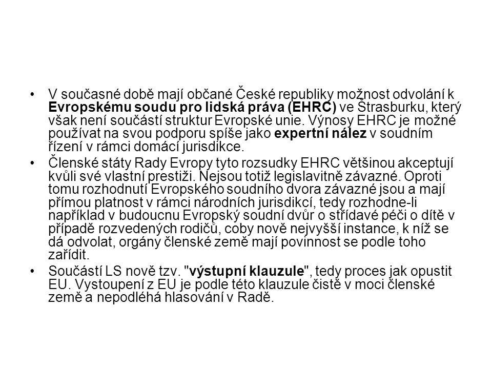V současné době mají občané České republiky možnost odvolání k Evropskému soudu pro lidská práva (EHRC) ve Štrasburku, který však není součástí strukt