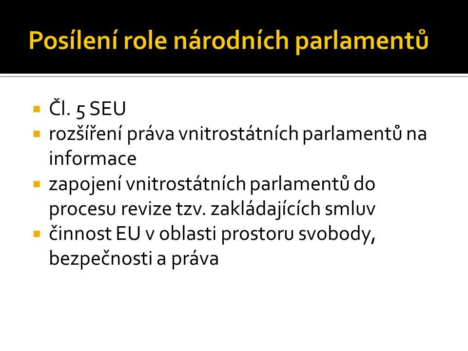  Čl. 5 SEU  rozšíření práva vnitrostátních parlamentů na informace  zapojení vnitrostátních parlamentů do procesu revize tzv. zakládajících smluv 