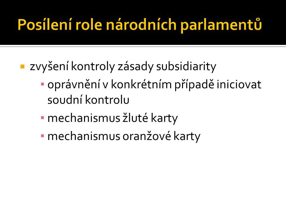  zvyšení kontroly zásady subsidiarity ▪ oprávnění v konkrétním případě iniciovat soudní kontrolu ▪ mechanismus žluté karty ▪ mechanismus oranžové karty