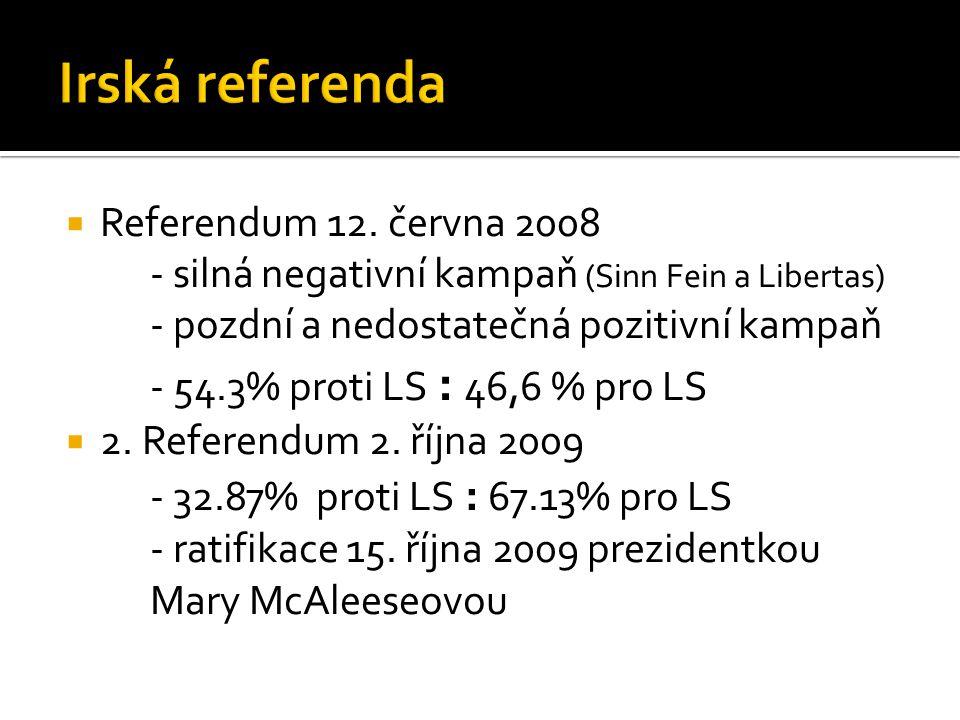  Referendum 12. června 2008 - silná negativní kampaň (Sinn Fein a Libertas) - pozdní a nedostatečná pozitivní kampaň - 54.3% proti LS : 46,6 % pro LS