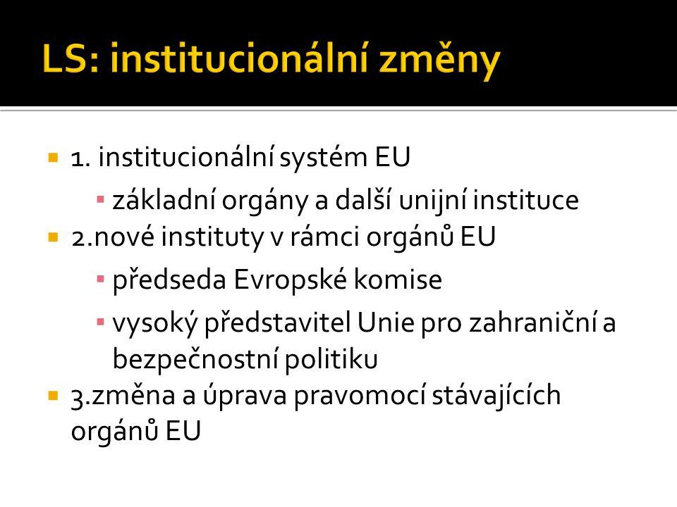  1. institucionální systém EU ▪ základní orgány a další unijní instituce  2.nové instituty v rámci orgánů EU ▪ předseda Evropské komise ▪ vysoký pře