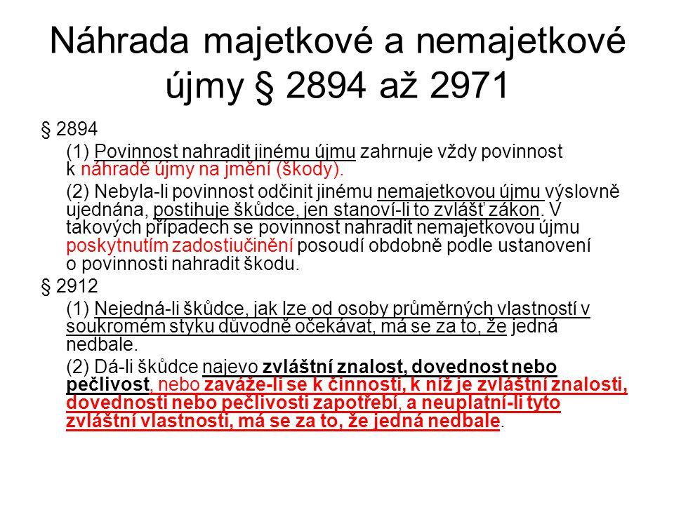Náhrada majetkové a nemajetkové újmy § 2894 až 2971 § 2894 (1) Povinnost nahradit jinému újmu zahrnuje vždy povinnost k náhradě újmy na jmění (škody).