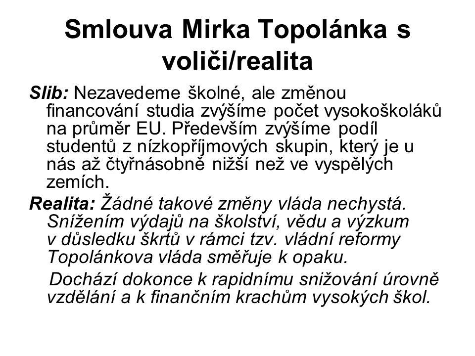 Smlouva Mirka Topolánka s voliči/realita Slib: Nezavedeme školné, ale změnou financování studia zvýšíme počet vysokoškoláků na průměr EU.