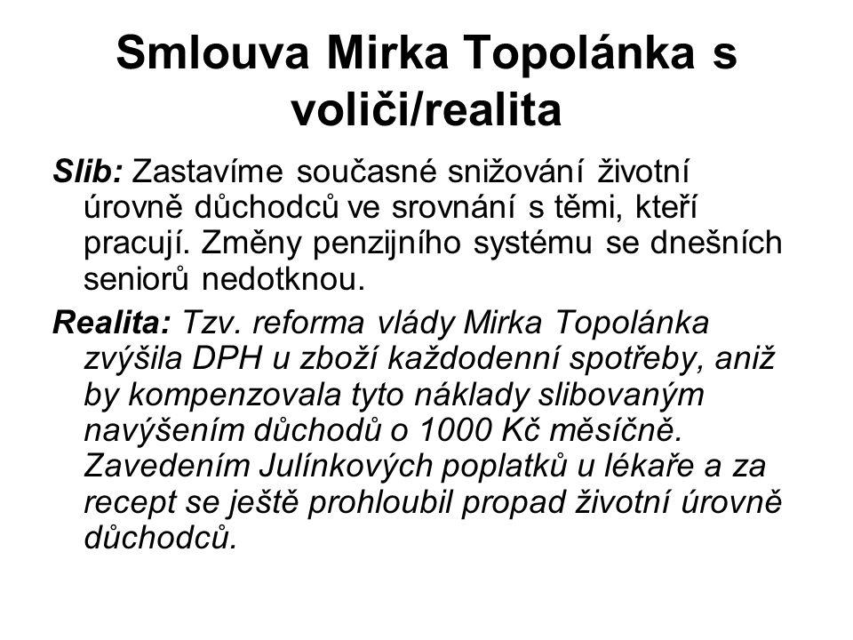Smlouva Mirka Topolánka s voliči/realita Slib: Zastavíme současné snižování životní úrovně důchodců ve srovnání s těmi, kteří pracují.
