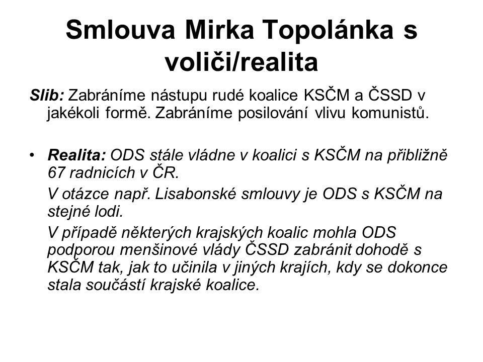 Smlouva Mirka Topolánka s voliči/realita Slib: Zabráníme nástupu rudé koalice KSČM a ČSSD v jakékoli formě.