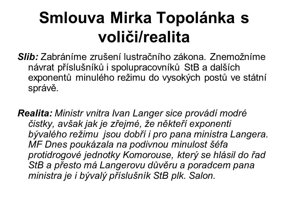 Smlouva Mirka Topolánka s voliči/realita Slib: Zabráníme zrušení lustračního zákona.