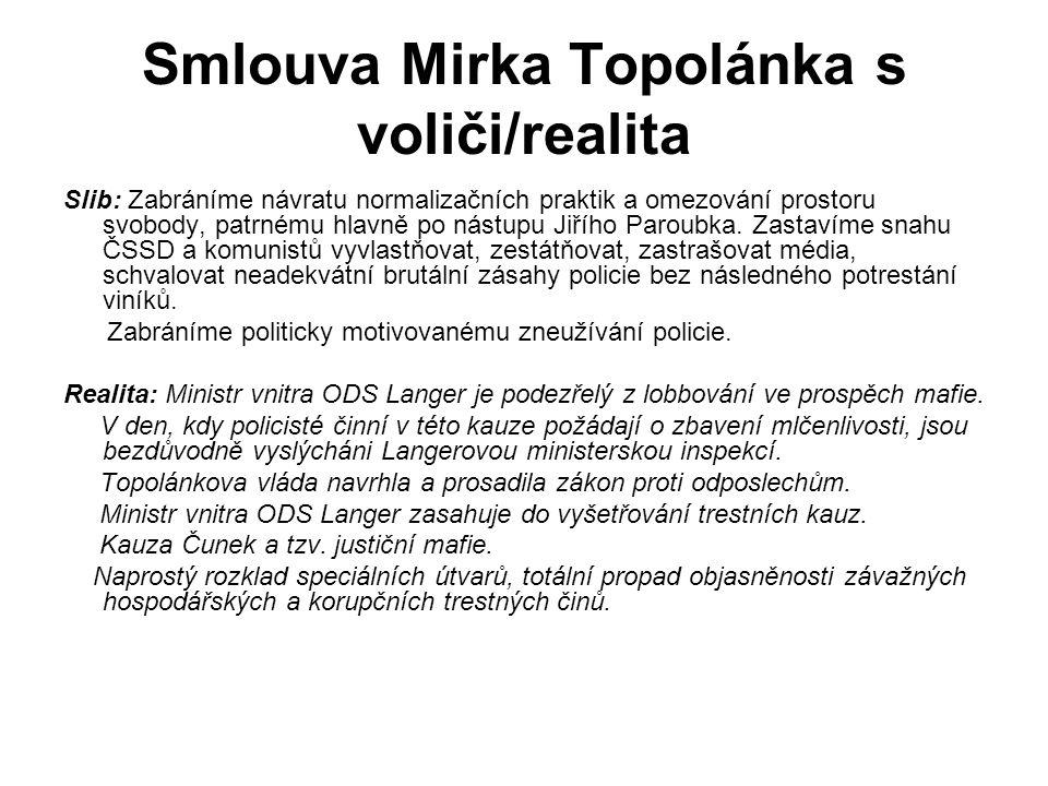 Smlouva Mirka Topolánka s voliči/realita Slib: Zabráníme návratu normalizačních praktik a omezování prostoru svobody, patrnému hlavně po nástupu Jiřího Paroubka.