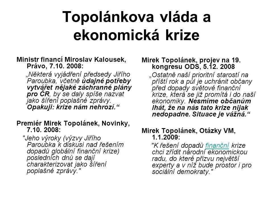 Topolánkova vláda a ekonomická krize Ministr financí Miroslav Kalousek, Právo, 7.10.