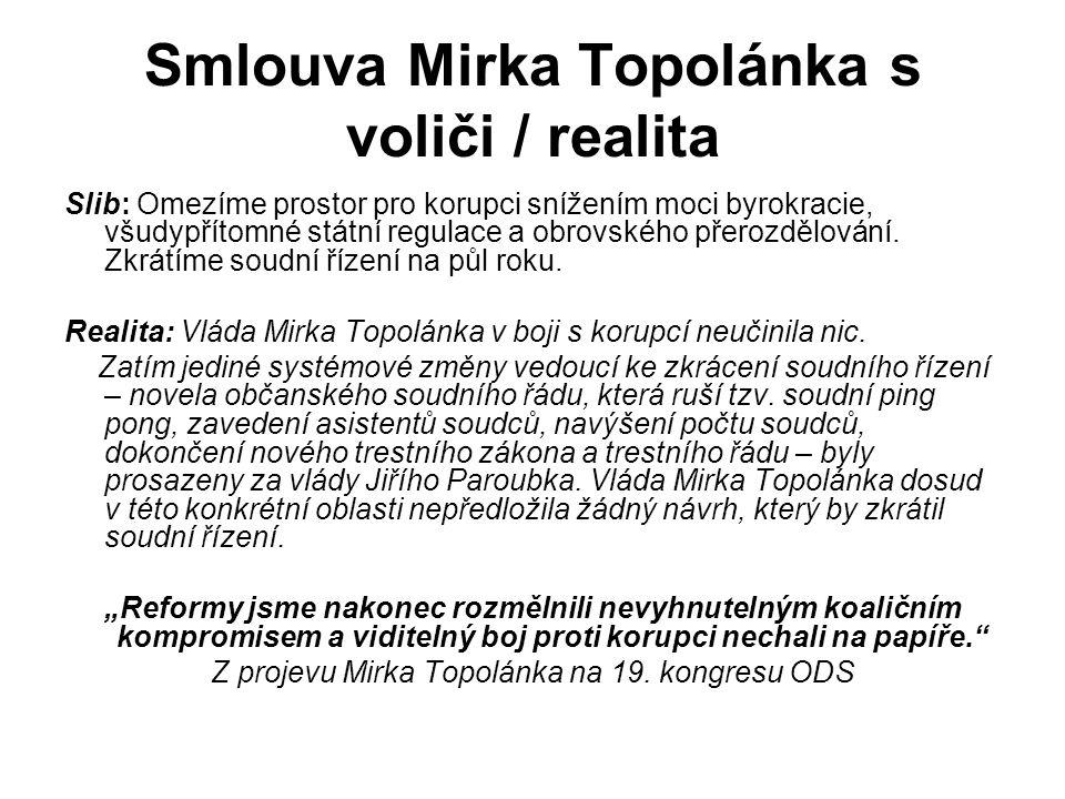 Smlouva Mirka Topolánka s voliči / realita Slib: Omezíme prostor pro korupci snížením moci byrokracie, všudypřítomné státní regulace a obrovského přerozdělování.
