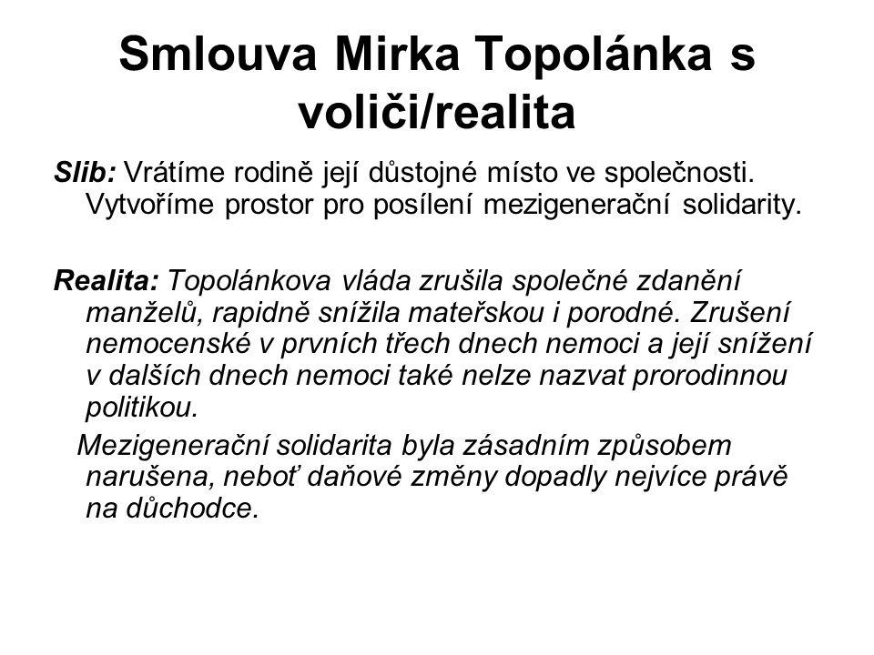 Smlouva Mirka Topolánka s voliči/realita Slib: Vrátíme rodině její důstojné místo ve společnosti.