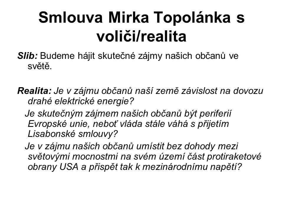 Smlouva Mirka Topolánka s voliči/realita Slib: Budeme hájit skutečné zájmy našich občanů ve světě.