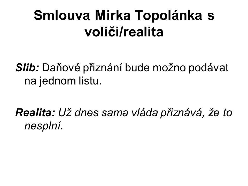 Smlouva Mirka Topolánka s voliči/realita Slib: Daňové přiznání bude možno podávat na jednom listu.