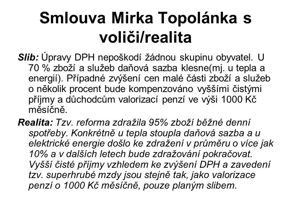 Smlouva Mirka Topolánka s voliči/realita Slib: Úpravy DPH nepoškodí žádnou skupinu obyvatel.