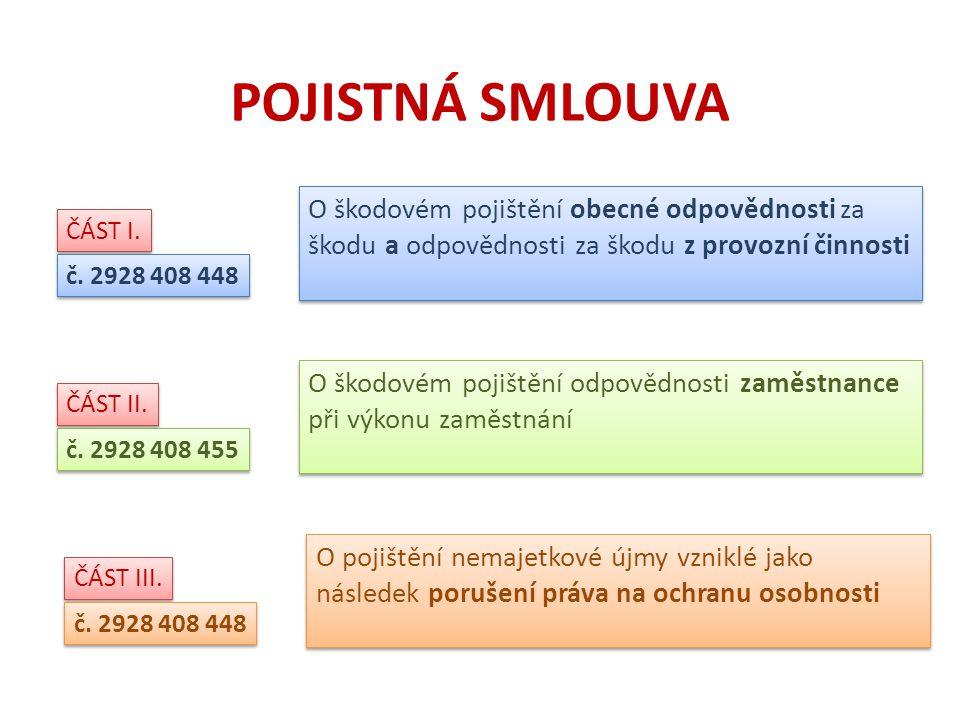 POJISTNÁ SMLOUVA ČÁST I. č.