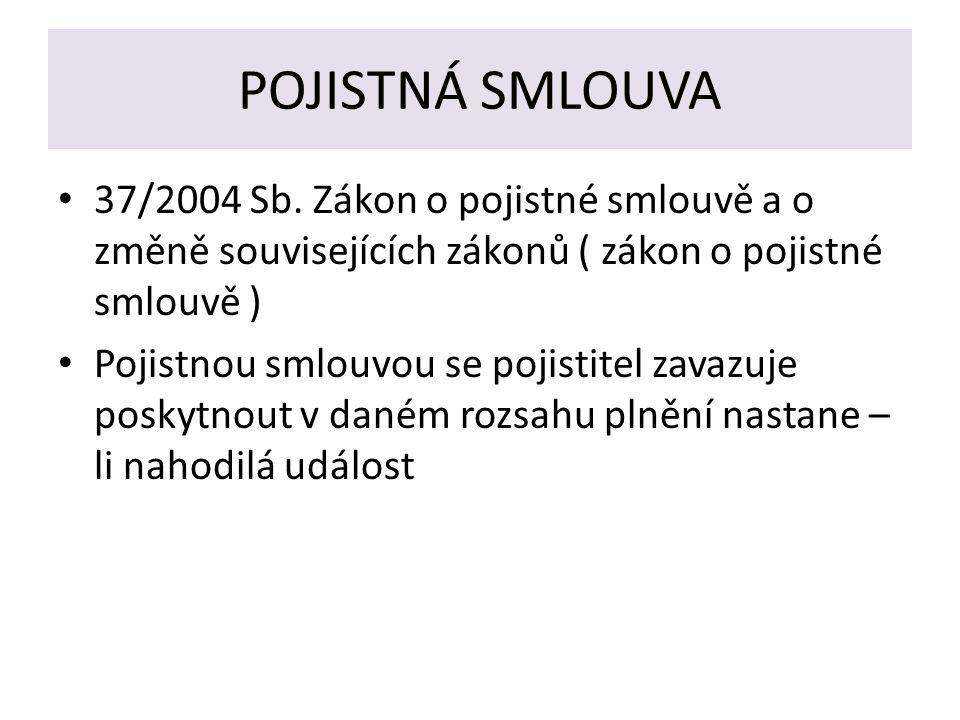 POJISTNÁ SMLOUVA 37/2004 Sb.