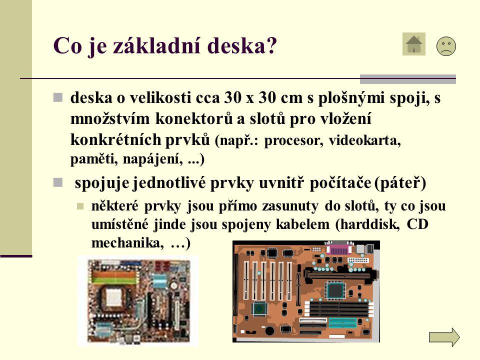 Co je základní deska? deska o velikosti cca 30 x 30 cm s plošnými spoji, s množstvím konektorů a slotů pro vložení konkrétních prvků (např.: procesor,
