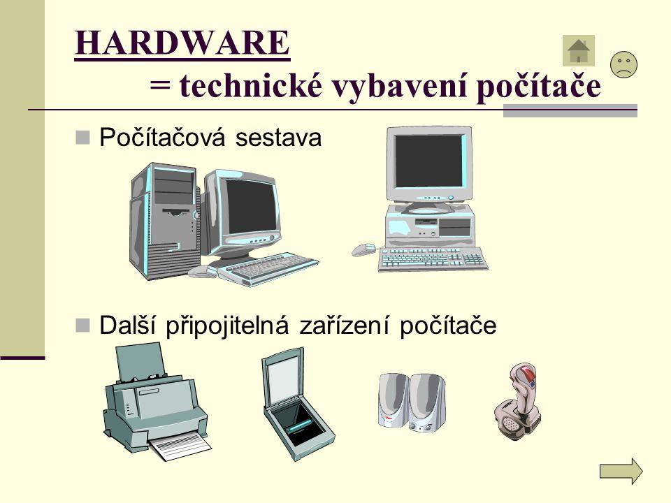 HARDWARE = technické vybavení počítače Počítačová sestava Další připojitelná zařízení počítače