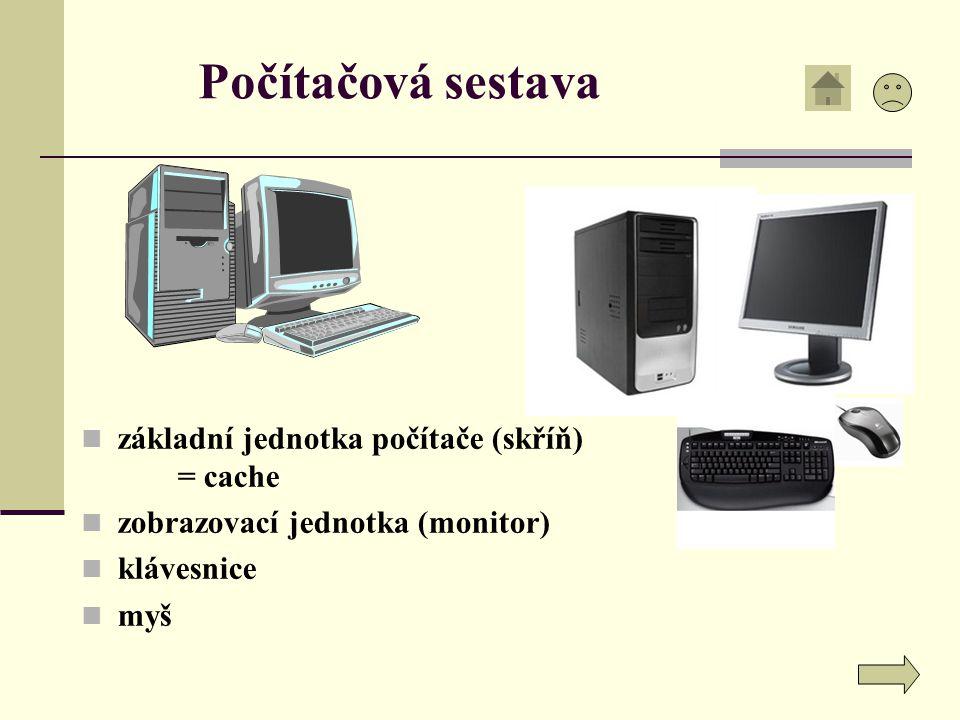 Počítačová sestava, přední stěna skříně Myš Disketová jednotka CD-ROM mechanika Skříň počítače – nejdůležitější část Signalizace činnosti disku Restart počítače Zapnutí/vypnutí PC Signalizace zapnutého PC Klávesnice Monitor