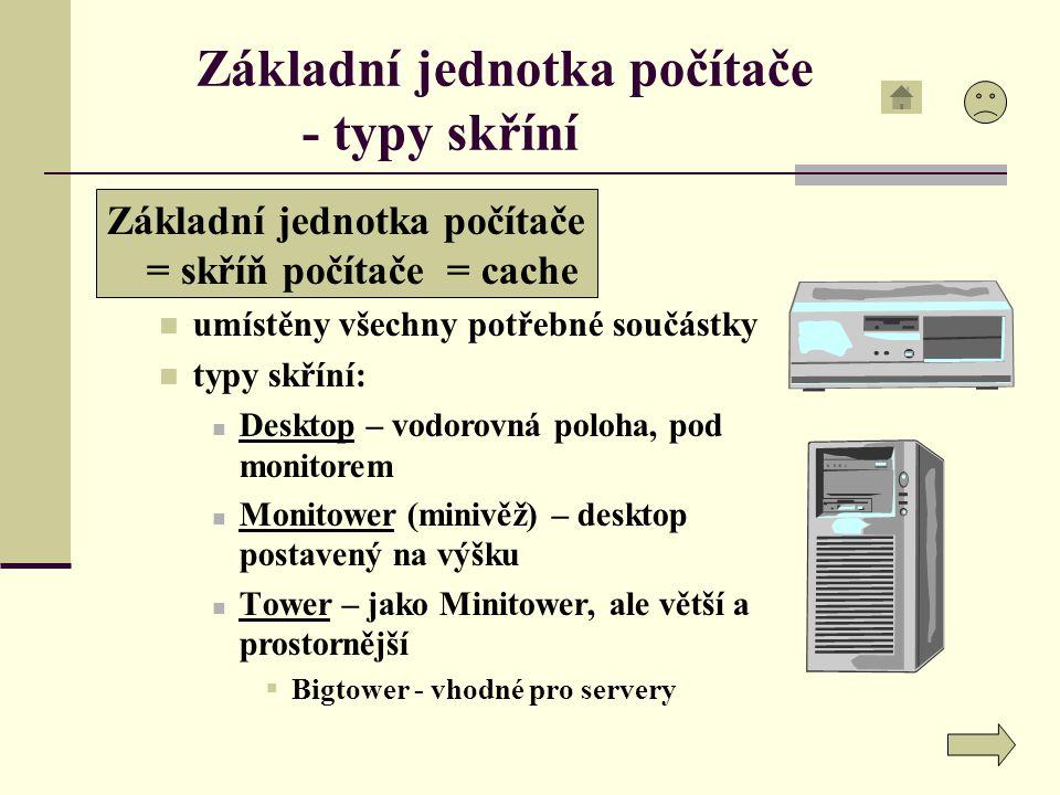Základní jednotka počítače - typy skříní Základní jednotka počítače = skříň počítače = cache umístěny všechny potřebné součástky typy skříní: Desktop