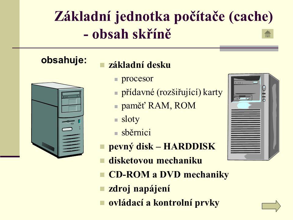 Základní jednotka počítače (cache) - obsah skříně základní desku procesor přídavné (rozšiřující) karty paměť RAM, ROM sloty sběrnici pevný disk – HARD