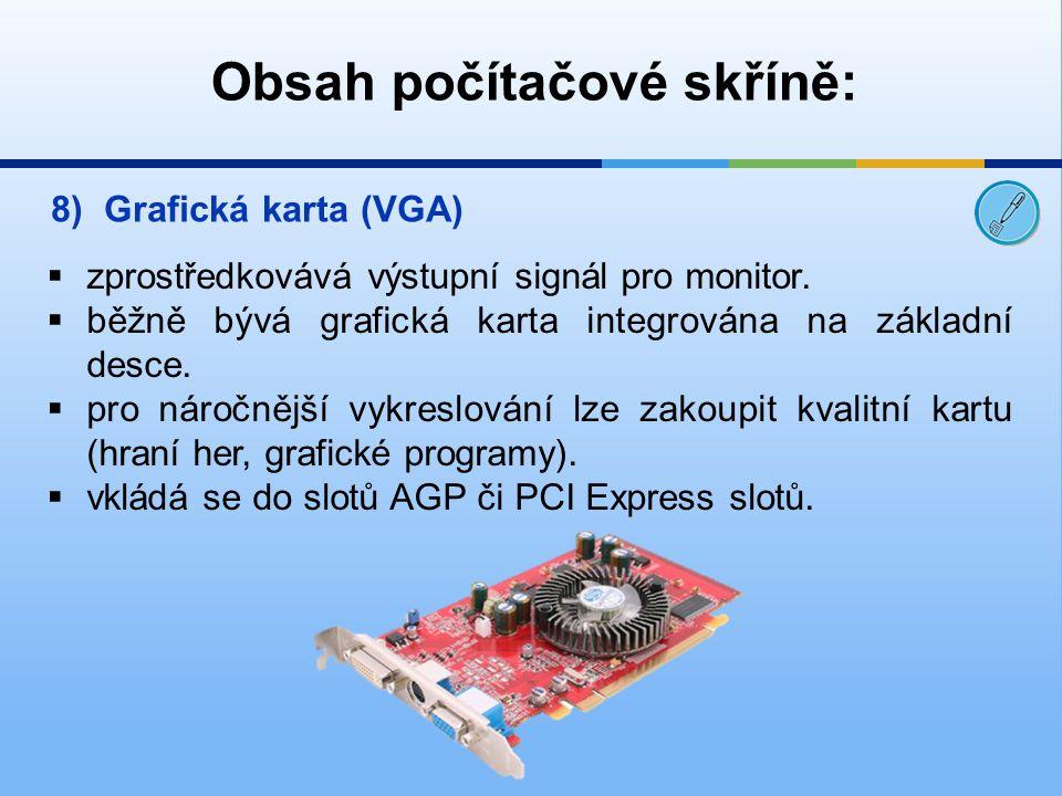 Obsah počítačové skříně: 8)Grafická karta (VGA)  zprostředkovává výstupní signál pro monitor.  běžně bývá grafická karta integrována na základní des