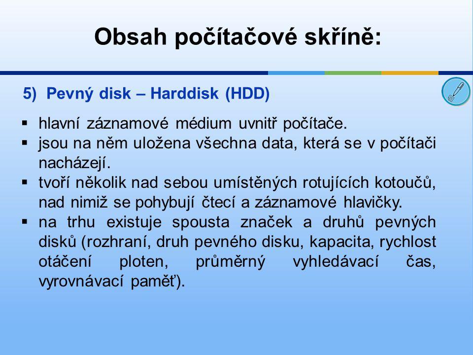 Obsah počítačové skříně: 5)Pevný disk – Harddisk (HDD)  hlavní záznamové médium uvnitř počítače.  jsou na něm uložena všechna data, která se v počít