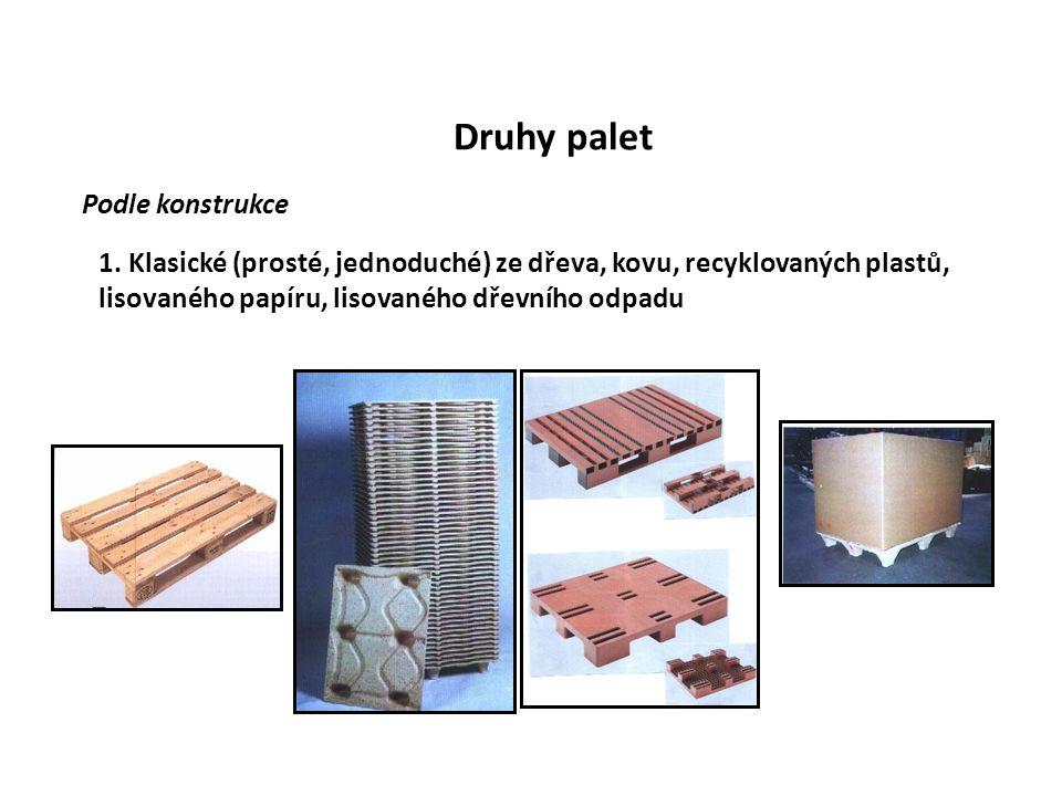 Druhy palet Podle konstrukce 1. Klasické (prosté, jednoduché) ze dřeva, kovu, recyklovaných plastů, lisovaného papíru, lisovaného dřevního odpadu