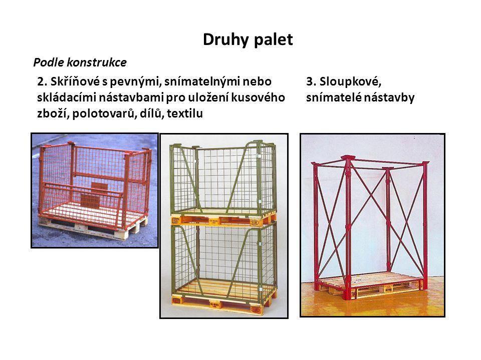 Druhy palet Podle konstrukce 2. Skříňové s pevnými, snímatelnými nebo skládacími nástavbami pro uložení kusového zboží, polotovarů, dílů, textilu 3. S