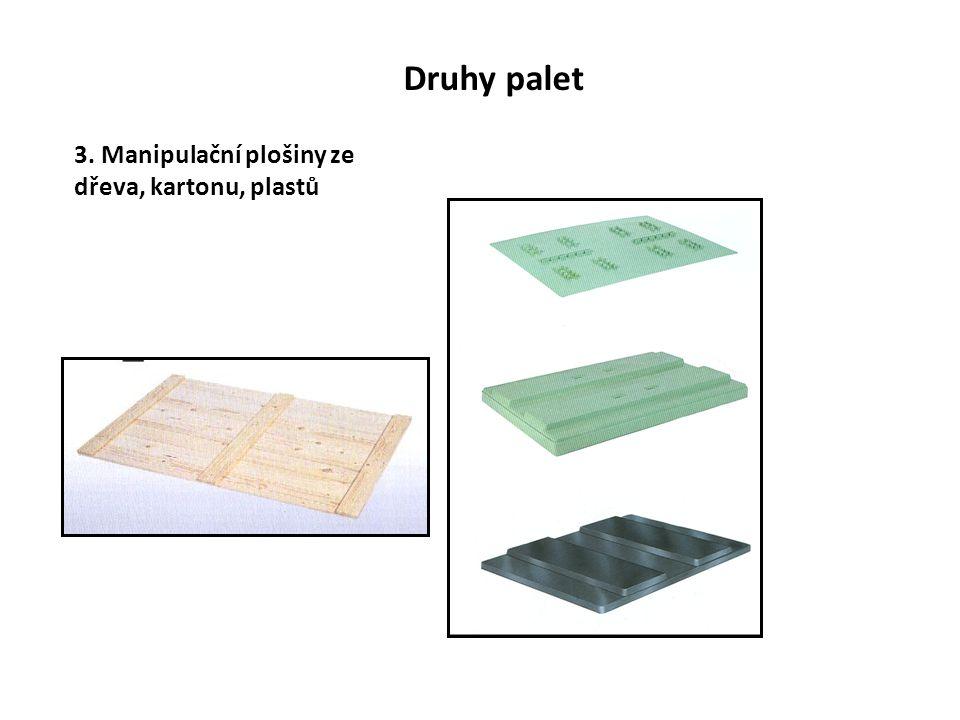 Druhy palet 3. Manipulační plošiny ze dřeva, kartonu, plastů
