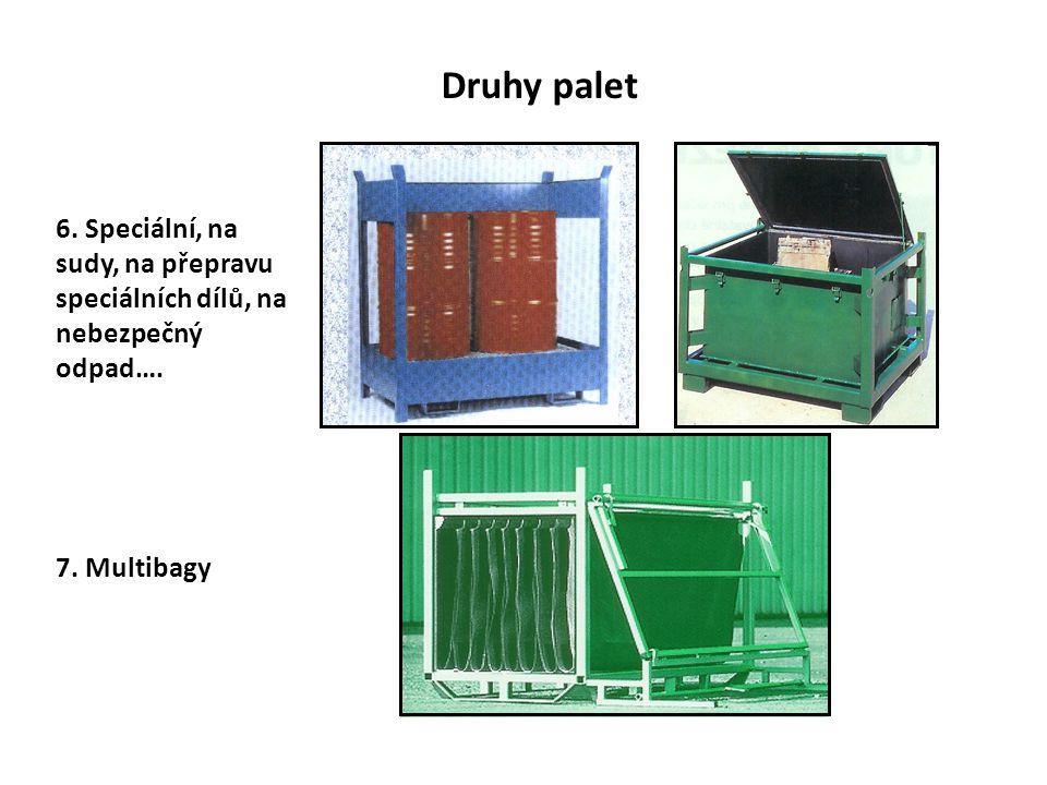 Druhy palet 6. Speciální, na sudy, na přepravu speciálních dílů, na nebezpečný odpad…. 7. Multibagy