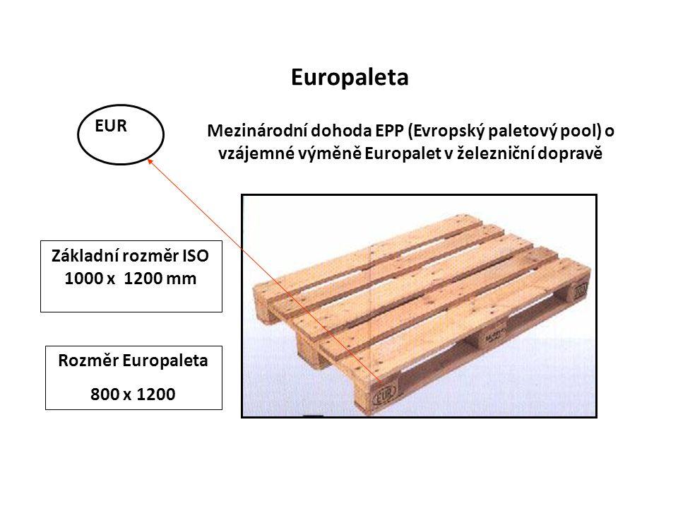 Europaleta Mezinárodní dohoda EPP (Evropský paletový pool) o vzájemné výměně Europalet v železniční dopravě EUR Rozměr Europaleta 800 x 1200 Základní