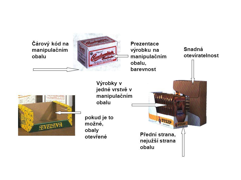 Prezentace výrobku na manipulačním obalu, barevnost pokud je to možné, obaly otevřené Čárový kód na manipulačním obalu Snadná otevíratelnost Výrobky v